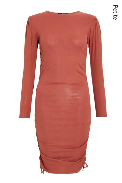 Petite Pink Ruched Bodycon Dress